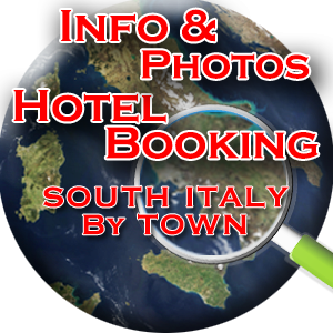 HOTEL BOOKING INFO & PHOTOS SOUTH ITALY - Welcome to Italy - Hotel Booking & Online Availability, Self Catering & Special Interest Holidays, Holiday Homes for Sale - Root Southern Italy - Route with us as we Root from there - Your Holiday Selected by you or Tailored by us. CHOOSE IT, CHECK IT, BOOK IT DIRECTLY ONLINE from Ancient Sicily to Amalfi Coast - Centuries of affinity between relaxation, comfort and recreation combined with art, history, travel and discovery - all savoured in with local folklore, traditions, food, wine and the soul of typical towns overhanging green mountains, through kilometres of rugged coast overlooking the blue Mediterranean and the warm-heart of all the local people... This awaits you on your ideal holiday in South Italy, arranged by the best interpreter of your holiday desires: you, combined with our professional, hands-on experience and know-how of southern Italy. In the comfort of your own home, find your southern Italian ideal accommodation and secure your Italian reservation online at the click of your mouse. Virtually explore this idyllic part of the Italian peninsula, and take a peek at all the destinations' images, locations and descriptions, comfortably and easily on this online brochure. The online brochure for travel and vacation to South Italy. We provide a wide range of information to give our guests a clear view of the available choices in destinations and accommodations, this way you can reserve your travel arrangements without delay. A place of romance, beauty, history, religion, tradition and folklore, combined with good food and traditionally, home made cuisine and wine, with chrystal clear blue sea, rugged coasts, long sandy beaches, entertainment and fun, Southern Italy is the ideal holiday destination for your travel wishes.  We appreciate the importance of a long wanted travel experience, that reflects on the purposes of both relaxation and fun. That's why we offer our guests this online brochure, with unlimited ph